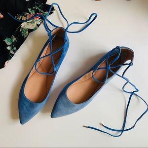 Sigerson Morrison Viata blue lace-up flats